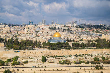 promised: View to Jerusalem old city in Israel Stock Photo