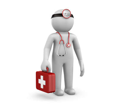 3d people - man, person with a stethoscope. Doctor