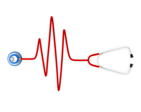 heart ecg trace: Stethoscope and a silhouette of the heart and ECG. 3d