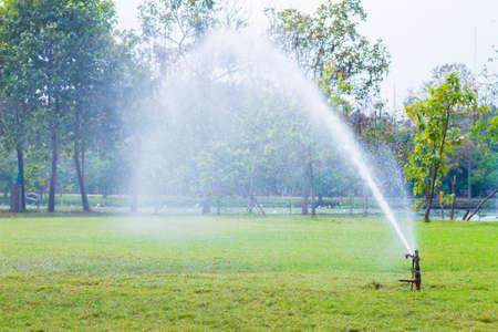 sprinklers: Water sprinklers - Stock Image Stock Photo