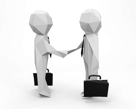 entrepreneurs: 3D low polygon Business handshake - isolated over a white background