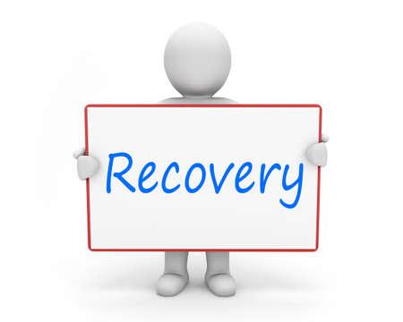 recovery: man write recovery Stock Photo
