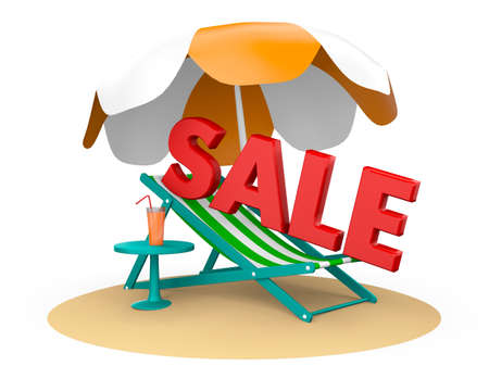 beach chair with sale Stock Photo