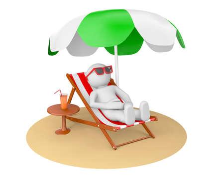 sun umbrella: 3D man on the beach under sun umbrella