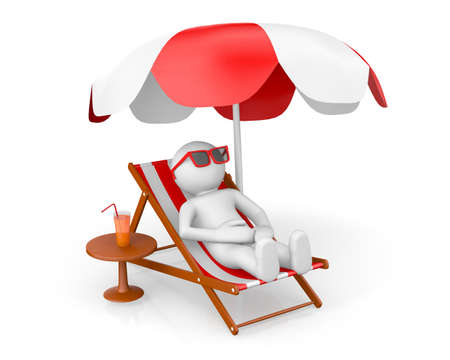 3D man on th beach under sun umbrella