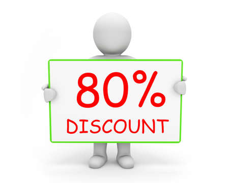 80: 80% discount board and man Stock Photo