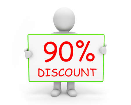 90: 90% discount board and man