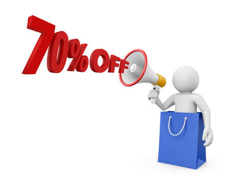 70: 70% discount and man Stock Photo