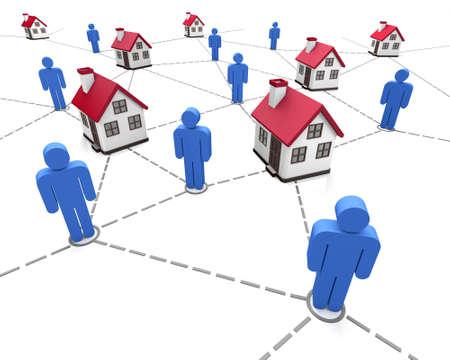 global village: house market symbol