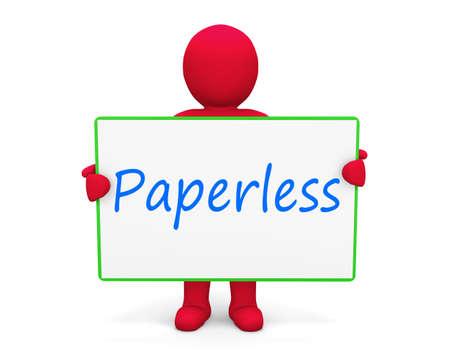 paperless: man write paperless