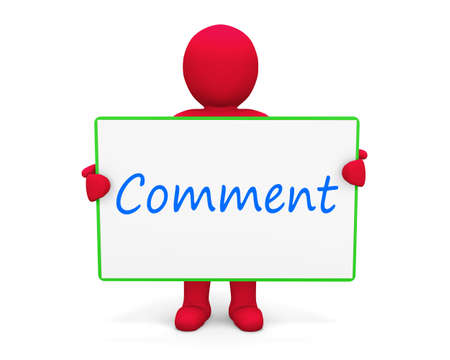comment: man write comment Stock Photo
