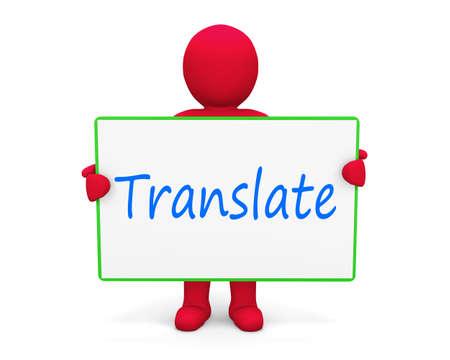 Man write translate Stock Photo