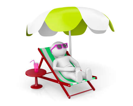sun umbrella: 3D man on th beach under sun umbrella