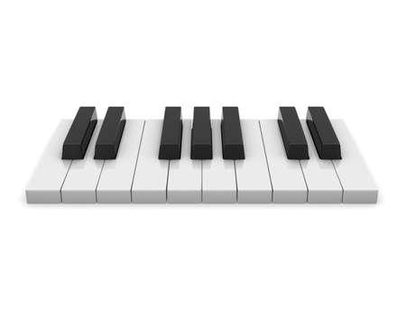 ピアノの鍵盤。白い背景上の 3d