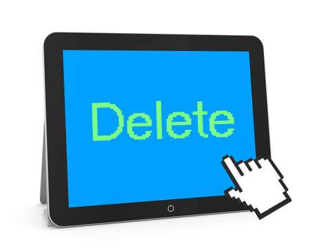 delete: man write delete Stock Photo