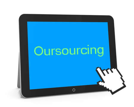 call centers: man write oursourcing