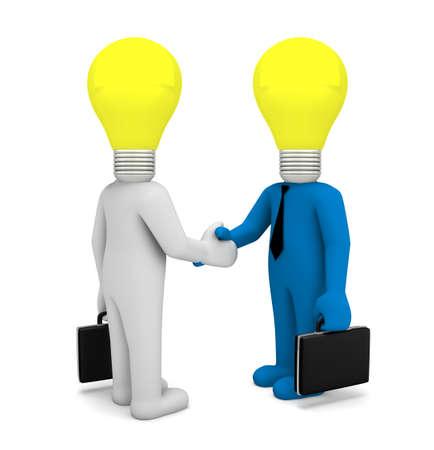 handshaking: handshake lamp business man 3d render Stock Photo