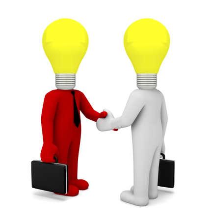 handshake lamp business man 3d render photo