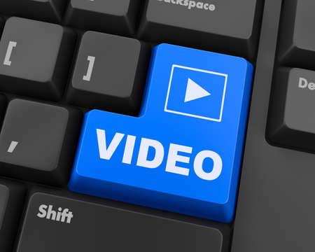 teclado: Teclado inteligente con botón de color, la imagen y el texto del vídeo Foto de archivo