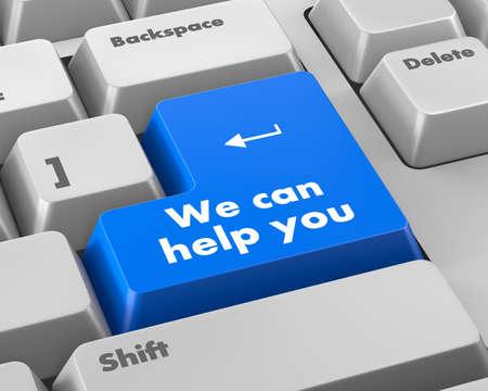 button computer: podemos ayudarle escrito en bot�n del ordenador