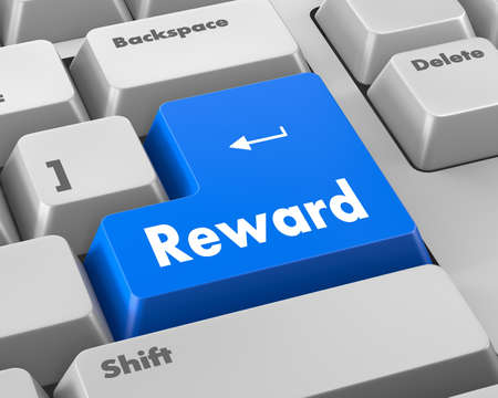 payoff: Rewards keyboard keys showing payoff Stock Photo