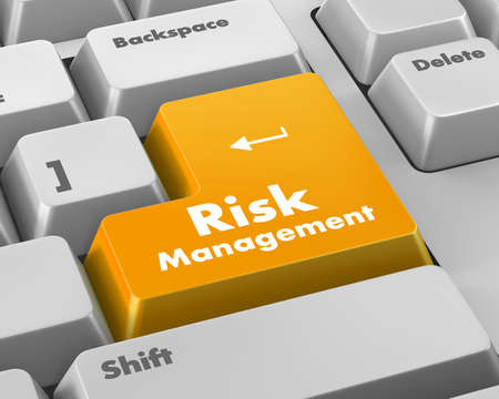 unfavorable: Orange Risk Management Button on Computer Keyboard. Business Concept.