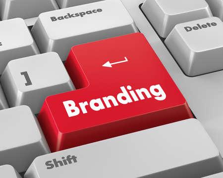 teclado de computadora: Concepto de marketing: Teclado de ordenador con palabra Branding, enfoque seleccionado en el botón de entrar, 3d Foto de archivo