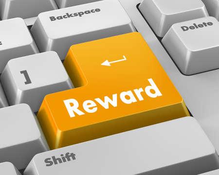 savvy: Rewards keyboard keys showing payoff Stock Photo
