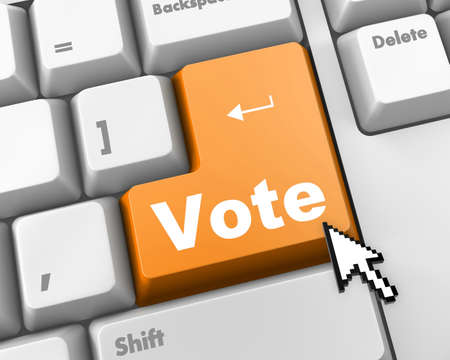 polling: red vote button on computer keyboard showing internet concept