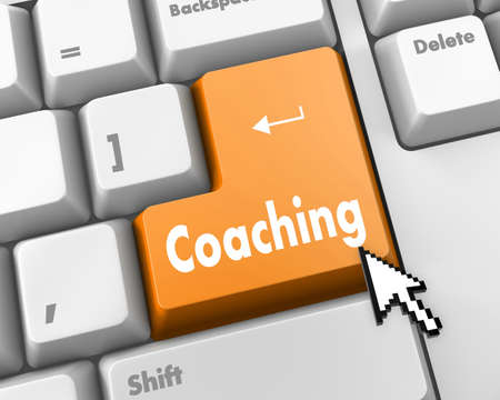 career coach: Keyboard Illustration with Coaching wording