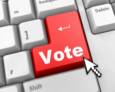 vote button: red vote button on computer keyboard showing internet concept