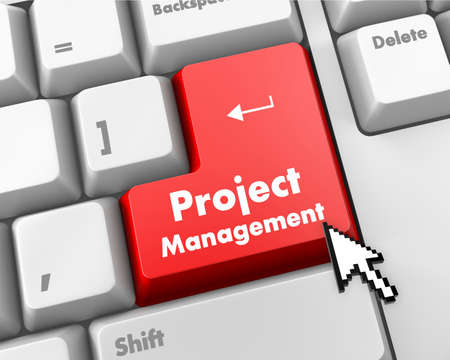 project manager: Project Management Button on Computer Keyboard. Business Concept. Stock Photo