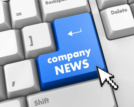 urgent announcement: computer keyboard with word Company News