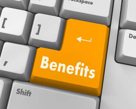 usp: Benefits - Business Concept. Button on Modern Computer Keyboard. 3D Render. Stock Photo