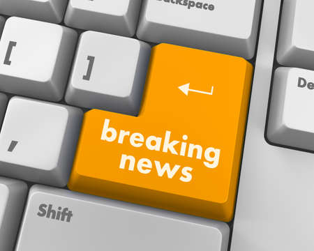 urgent announcement: News concept: computer keyboard with word Breaking News on enter button background, 3d render