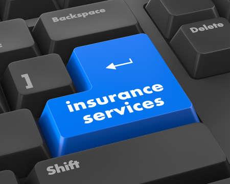 teclado: Teclado con el botón de servicios de seguros, el concepto de Internet, la trama