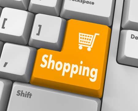 enter button: shopping enter button key on white  keyboard