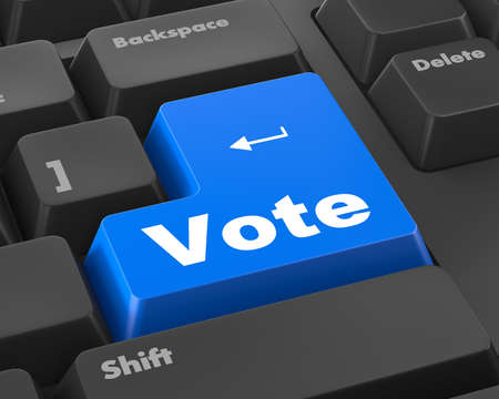 option key: vote button on computer keyboard showing internet concept