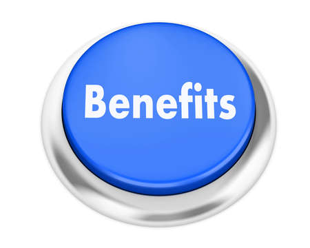 fringe benefit: Benefits button on isolate white background
