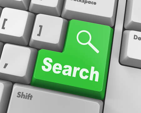 seeking solution: search button on the keyboard close-up Stock Photo