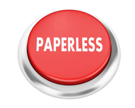paperless: Paperless button on isolate white background