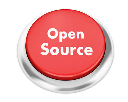 freeware: open source button on isolate white background