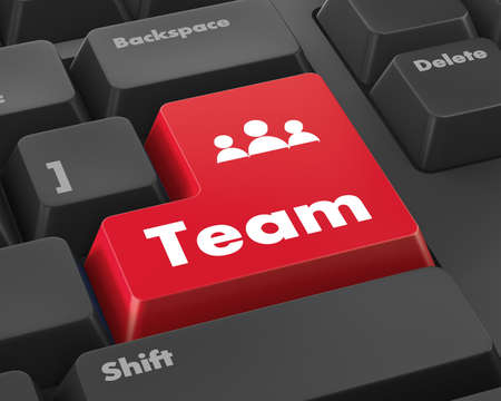 team building: Team Building Concept. Team Button on Modern Computer Keyboard with Word Partners on It.