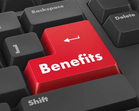 fringe benefit: Benefits - Business Concept. Button on Modern Computer Keyboard. 3D Render. Stock Photo
