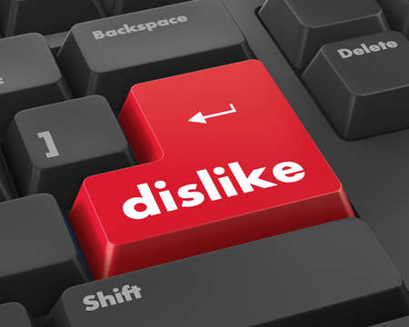 antisocial: dislike key on keyboard for anti social media concepts