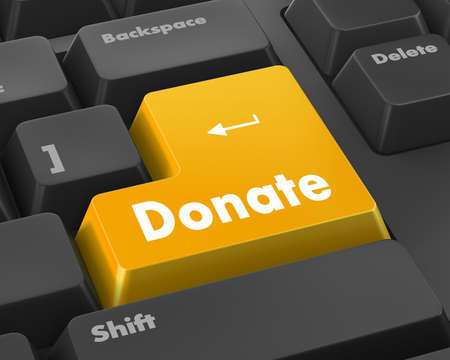 solicitation: donate button on computer keyboard pc key 3d