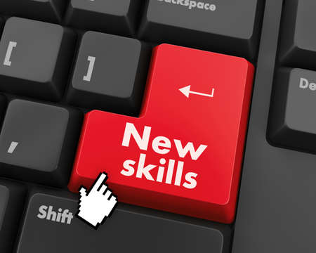 computer education: Education concept: computer keyboard with Head With Lightbulb icon and word New Skills