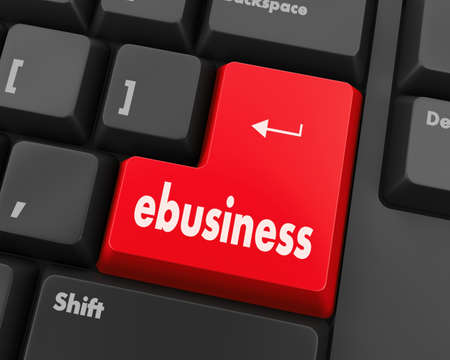 ebusiness: Text ebusiness button 3d render