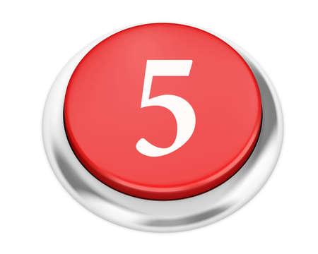number 5: number 5 button 3d render