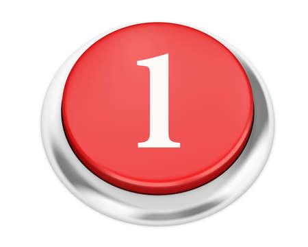 1: number 1 button 3d render